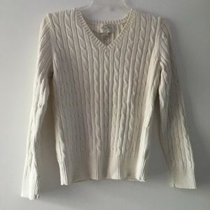 Cream v neck cable knit sweater